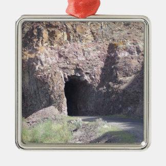 Tunnel Silver-Colored Square Ornament