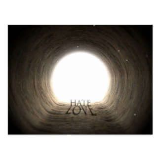 Tunnel Text and Shadow Concept - Hate & Love Postcard