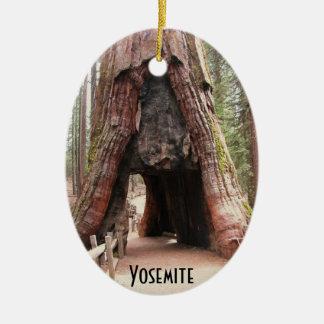 Tunnel Tree- Yosemite Ceramic Oval Ornament