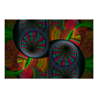 Tunneling Fractal Psychedelic Poster