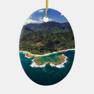 Tunnels Reef on the Hawaiian Island of Kauai Ceramic Oval Ornament