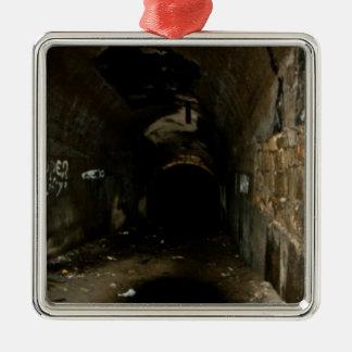 Tunnels Silver-Colored Square Ornament