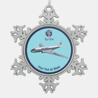 Tupolev (Туполев) Tu-104 Airliner Snowflake Pewter Christmas Ornament