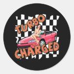 Turbo a chargé le T-shirts et les cadeaux pour lui Autocollants Ronds