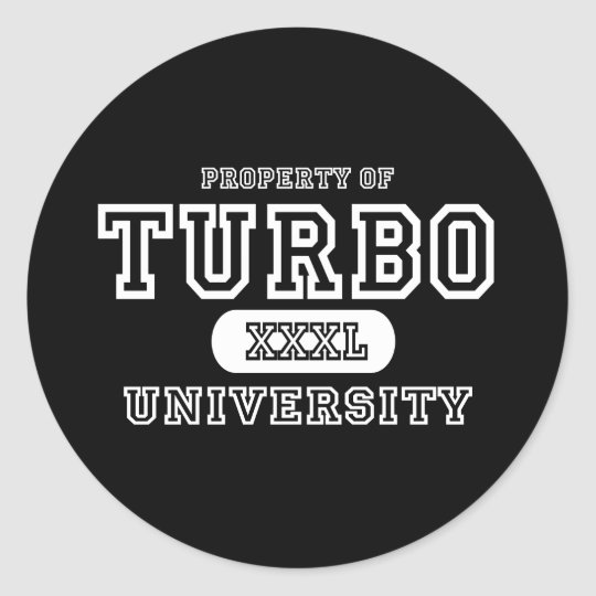 Turbo University Dark Classic Round Sticker
