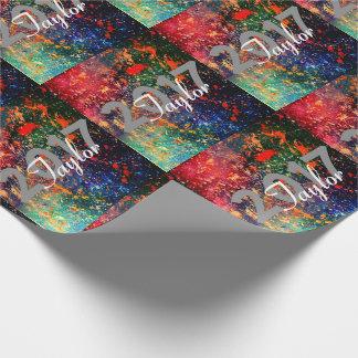Turbulence Grad   Custom Year Rainbow Splatter   Wrapping Paper