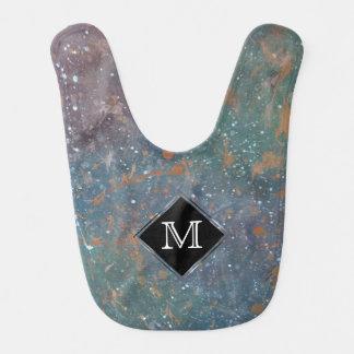 Turbulent Chic Monogram Faded Jewel Tone Abstract Bib
