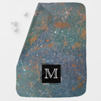 Turbulent Chic Monogram Muted Splatter Abstract Baby Blanket