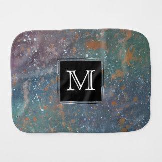 Turbulent Chic Monogram Muted Splatter Abstract Burp Cloth