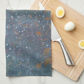 Turbulent Kitchen Monogram Faded Rainbow Splatter Hand Towels