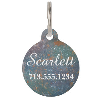 Turbulent Pet Name Faded Worn Muted Abstract Pet Tag