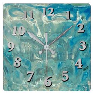Turbulent Sea Square Wall Clock