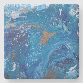 Turbulent Seas Acrylic Pour Stone Coaster