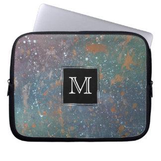 Turbulent Tech | Monogram Muted Abstract Splatter Laptop Sleeve