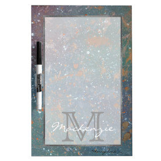 Turbulent Trendy Monogram Faded Rainbow Splatter Dry Erase White Board