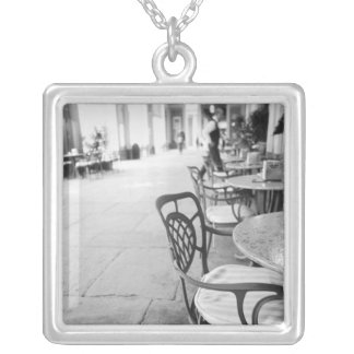 Turin Italy, Cafe and Archway Square Pendant Necklace