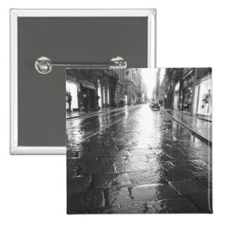 Turin Italy, Wet Street Evening 2 Inch Square Button
