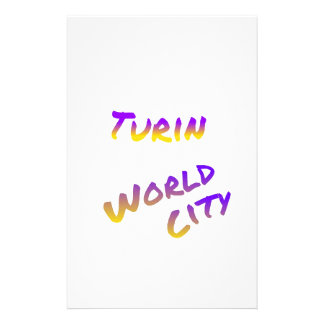Turin world city, colorful text art stationery
