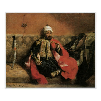 Turk Seated on a Sofa and Smoking 1825 Print