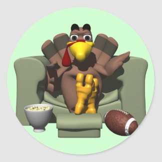 Turkey and Football Classic Round Sticker