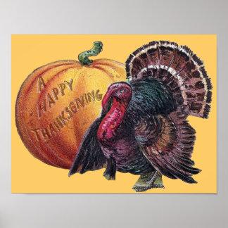 Turkey and Pumpkin Vintage Thanksgiving Print