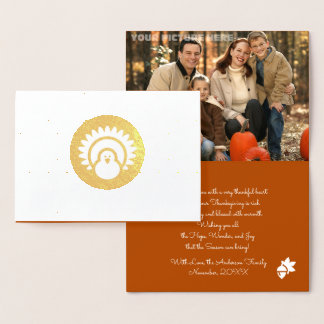 Turkey & Autumn Pattern Thanksgiving Photocards Foil Card