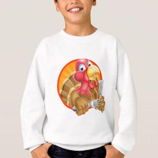Turkey Bird Holding Kife and Fork Sweatshirt