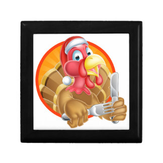 Turkey Bird in Santa Hat Holding Knife and Fork Gift Boxes