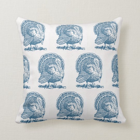Turkey Blue Thanksgiving Toile Vintage Inspired Throw Pillow