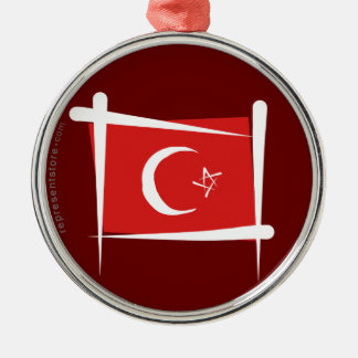 Turkey Brush Flag Silver-Colored Round Ornament