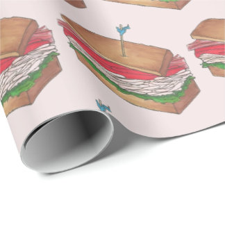 Turkey Club Sandwich Restaurant Diner Foodie Food Wrapping Paper