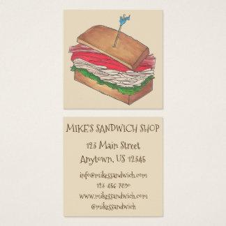 Turkey Club Sandwich Shop Restaurant Diner Chef Square Business Card