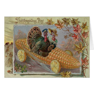 Turkey Couple Corn Car Fall Leaves Card