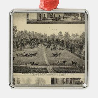 Turkey Creek Farm, Nebraska Silver-Colored Square Ornament