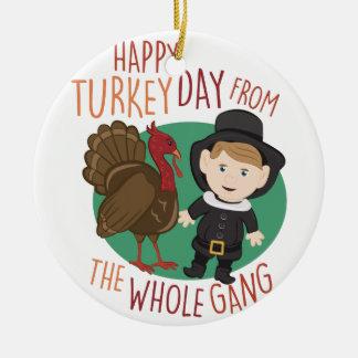 Turkey Day Round Ceramic Ornament
