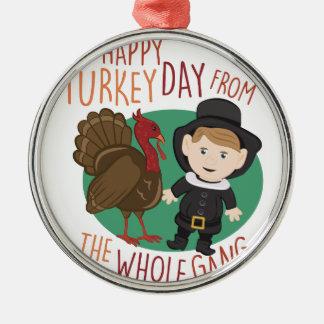 Turkey Day Silver-Colored Round Ornament