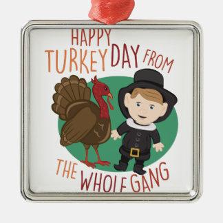 Turkey Day Silver-Colored Square Ornament