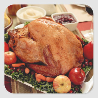 Turkey Dinner Meal Square Sticker