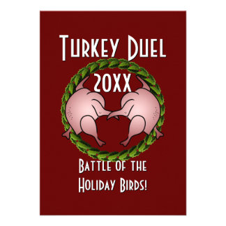 Turkey Duel Holiday Cook Off Personalized Invite