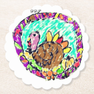 turkey fall art paper coaster