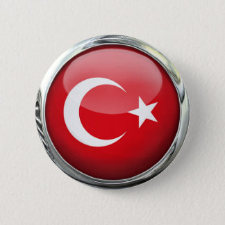 Turkey Flag Glass Ball 2 Inch Round Button