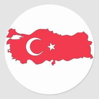 Turkey flag map classic round sticker