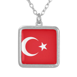 Turkey Flag Silver Plated Necklace