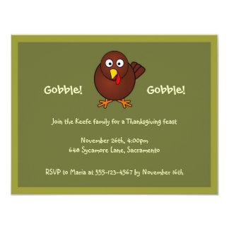 Turkey gobble Thanksgiving green brown invitation