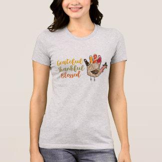 Turkey Hand Thanksgiving Grateful Thankful Blessed T-Shirt