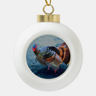 Turkey in Snow 3 Ceramic Ball Christmas Ornament