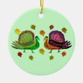 Turkey in the Fall Leaves Ornaments