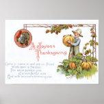 Turkey Little Boy Pumpkin Patch Poster