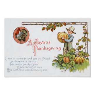 Turkey Little Boy Pumpkin Patch Poster