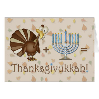 Turkey, Menorah, Humorous Thanksgivukkah Greeting Card